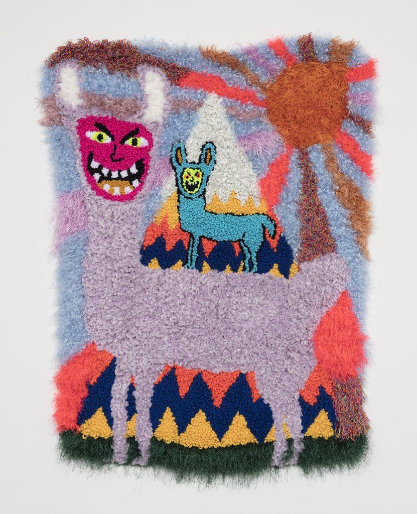 "¡Las Llamas Locas!   Wool, acrylic, polyester and burlap  54"" x 40""  2019"