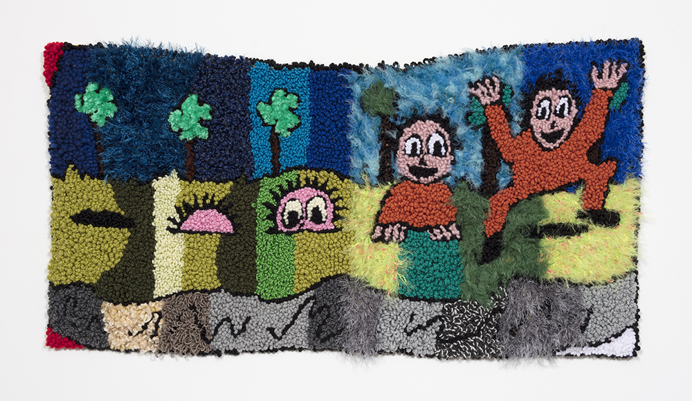 "Here He Comes Comes (AKA Prison Break)   Wool, acrylic, polyester and burlap   24"" x 47""  2019"