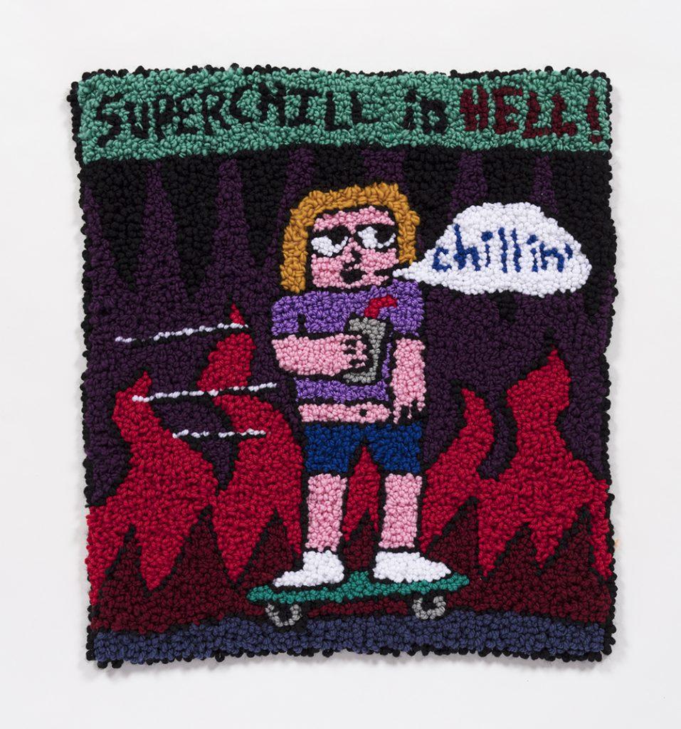 "Superchill in Hell    Wool, acrylic, polyester and burlap  28"" x 25""  2019"