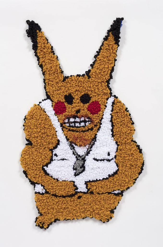 "Macho Pikachu   Wool, acrylic, polyester and burlap  35"" x 20""  2019"