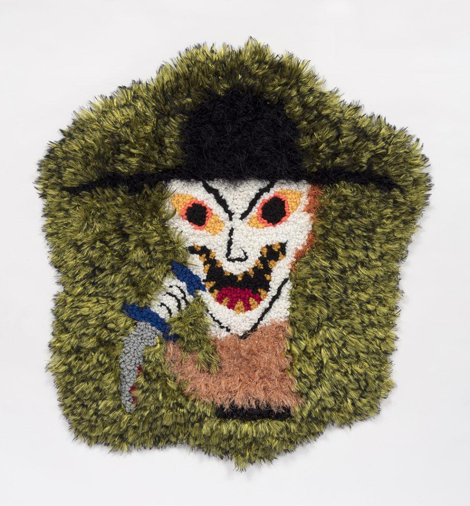 "Pishtaco   Wool, acrylic, polyester and burlap  32"" x 31""  2019"