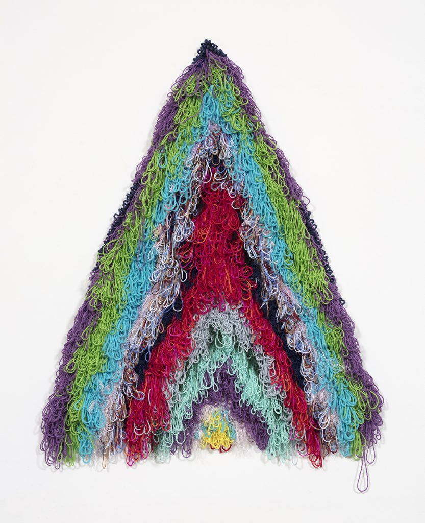 "Rainbow Clit Mountain    Wool, acrylic, polyester and burlap  48"" x 42""  2019"