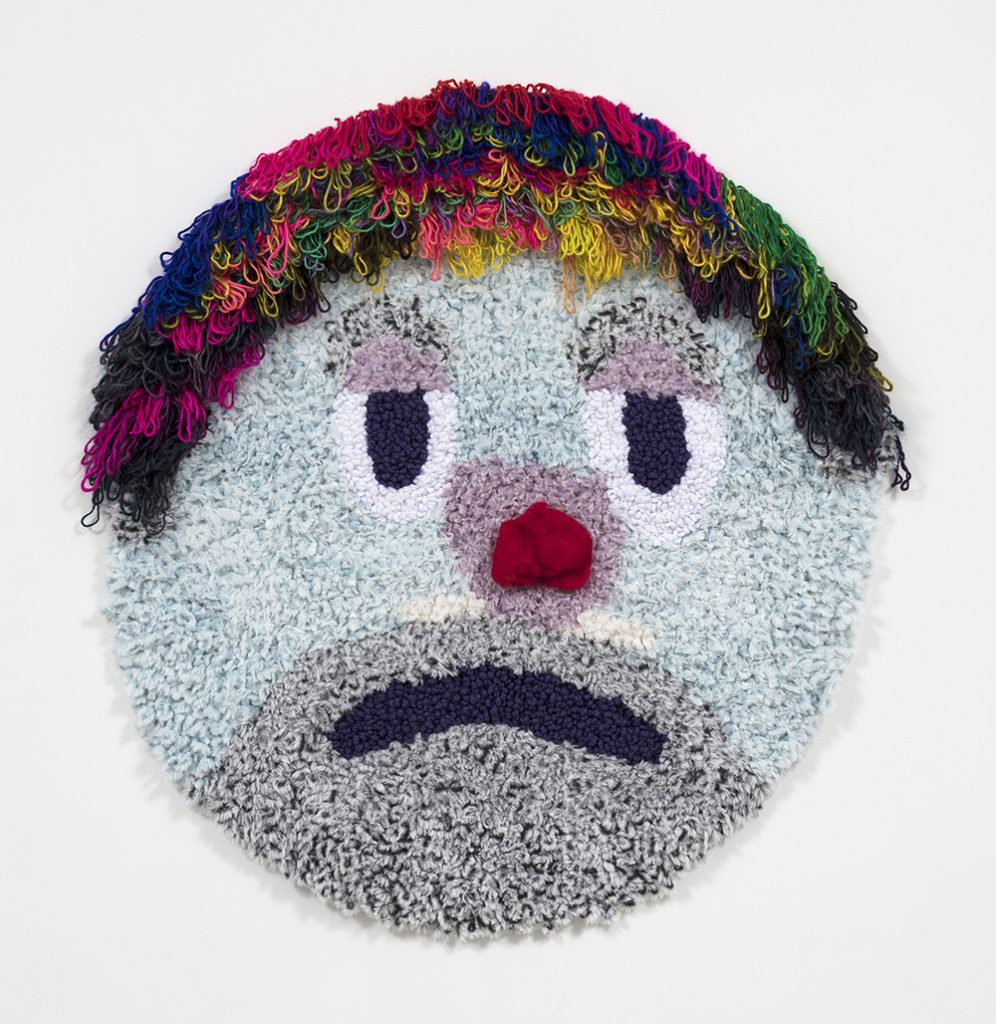 """The Last Clown in the Shtetl   Acrylic, polyester, wool  47"""" x 41""""  2019"""