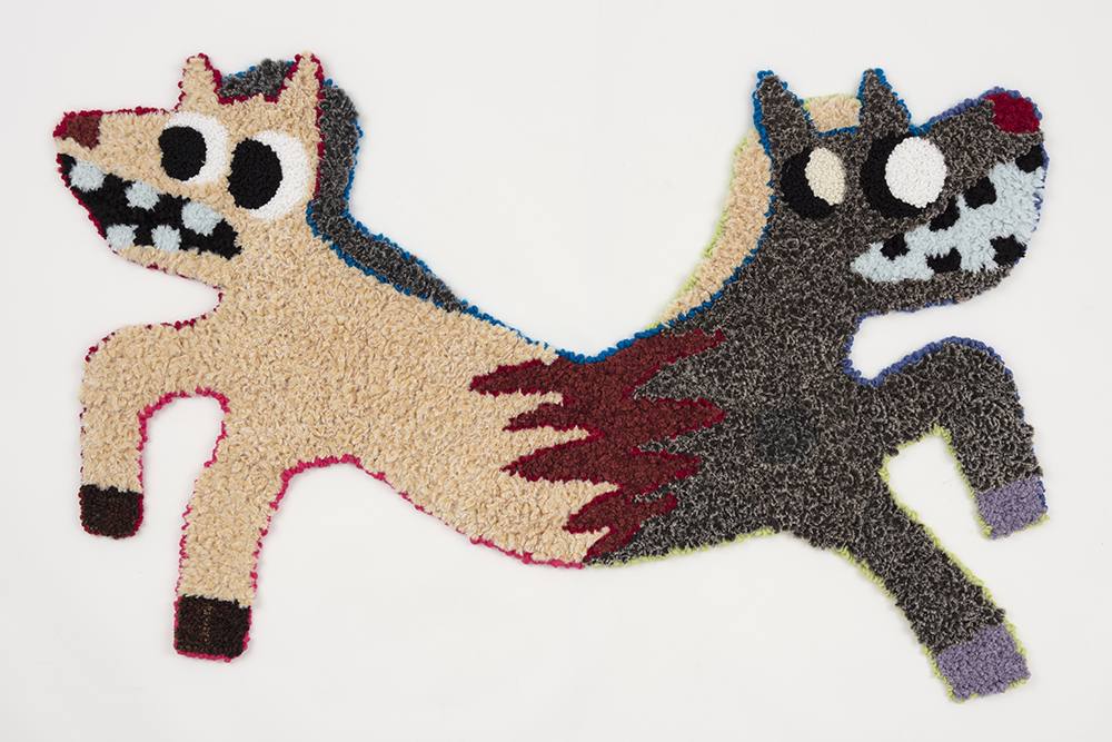 """You're Tearing Me Apart    Acrylic, polyester, burlap  47"""" x 73""""  2019"""