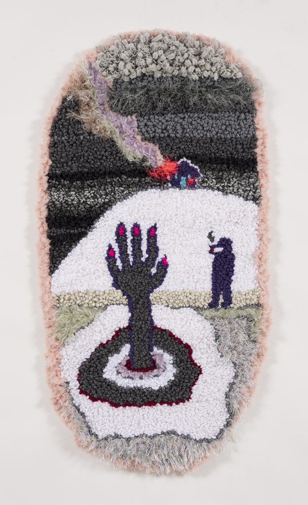 """At the river with my baby   Acrylic, polyester, wool,   45"""" x 23""""  2019"""