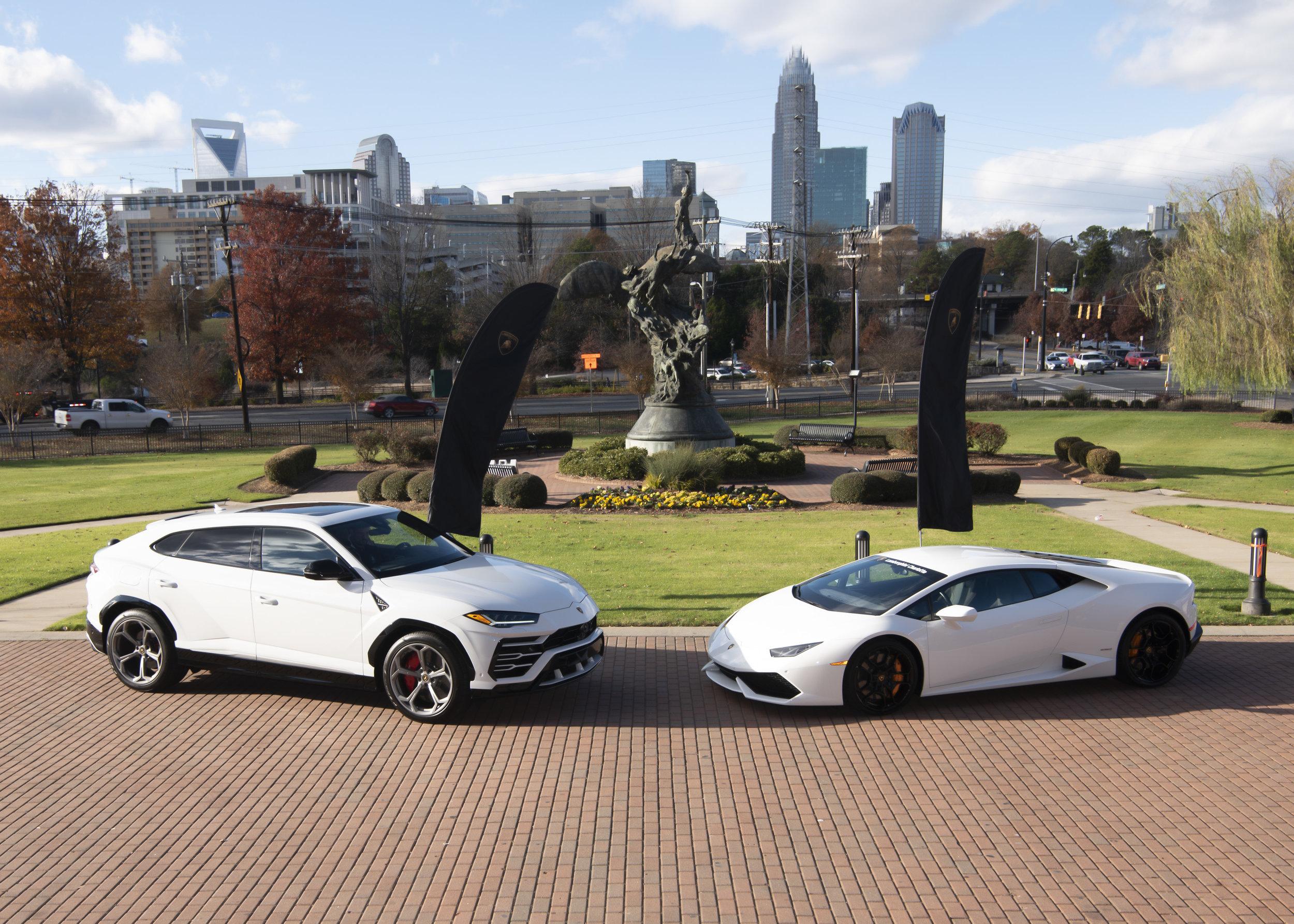 Lamborghini Urus and Lamborghini Huracán courtesy of Lamborghini Charlotte