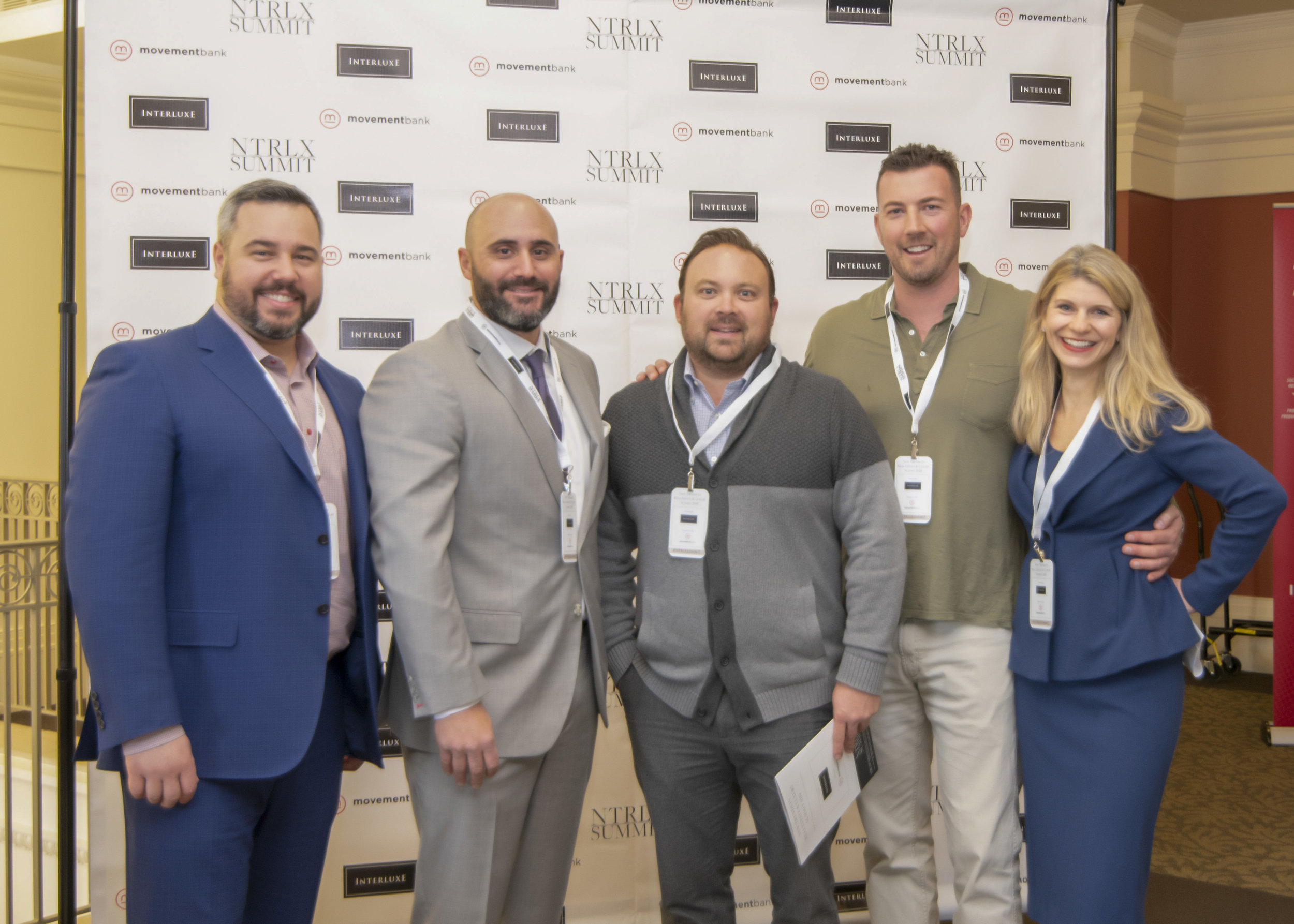 Scott Kirk of Interluxe, Steve Lonnen of Costello, Logan Abrams of REMAX Executive, Tom Bramhall of Charlotte Real Producers, and Stacy Kirk of Interluxe