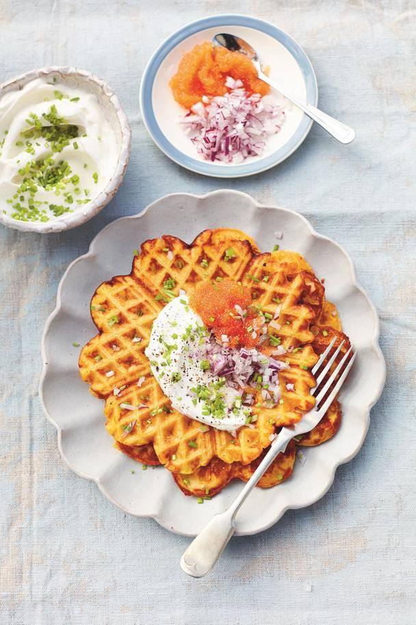 roasted butternut squash waffles
