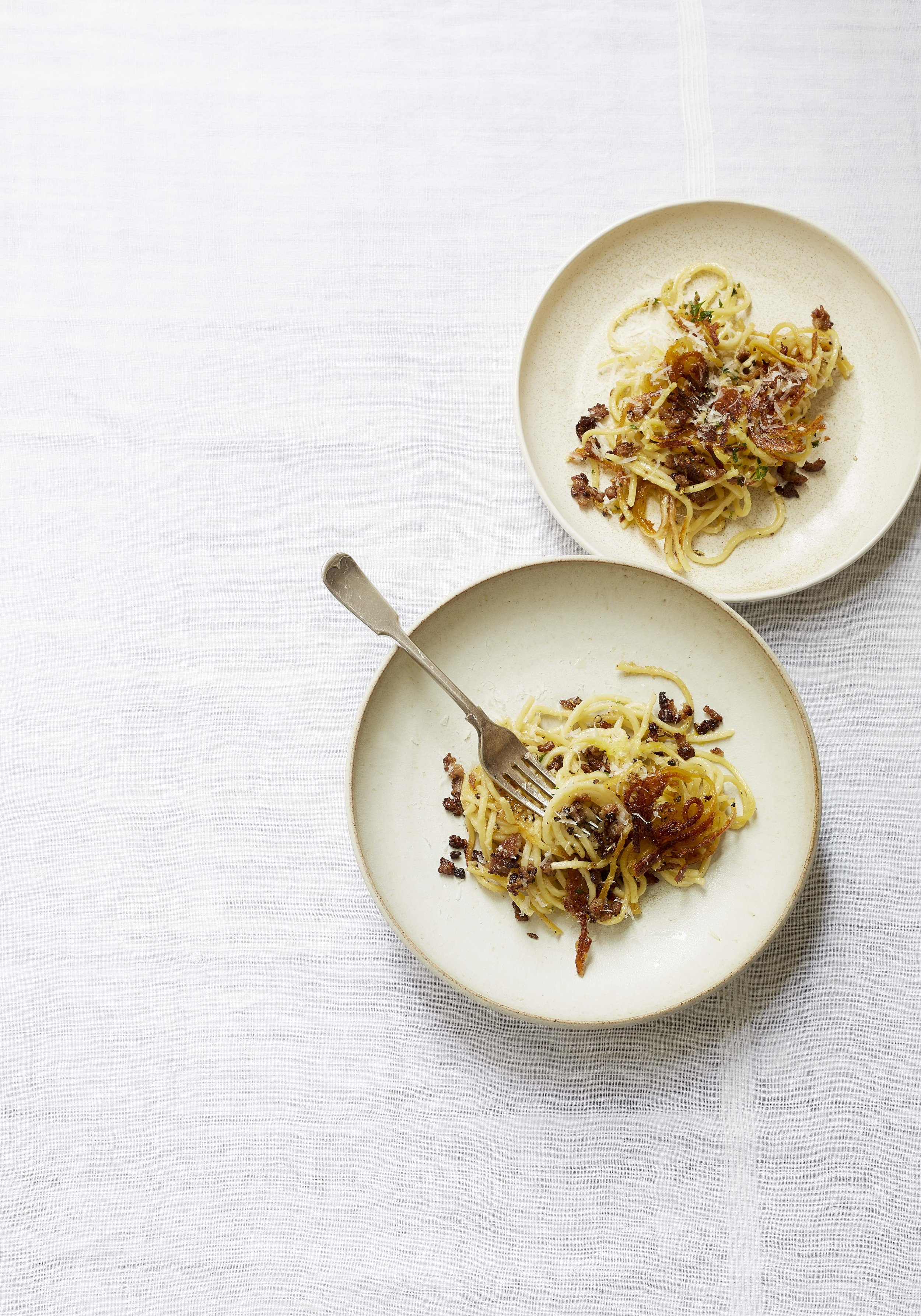 3 cheese fried pasta with crispy fennel sausage