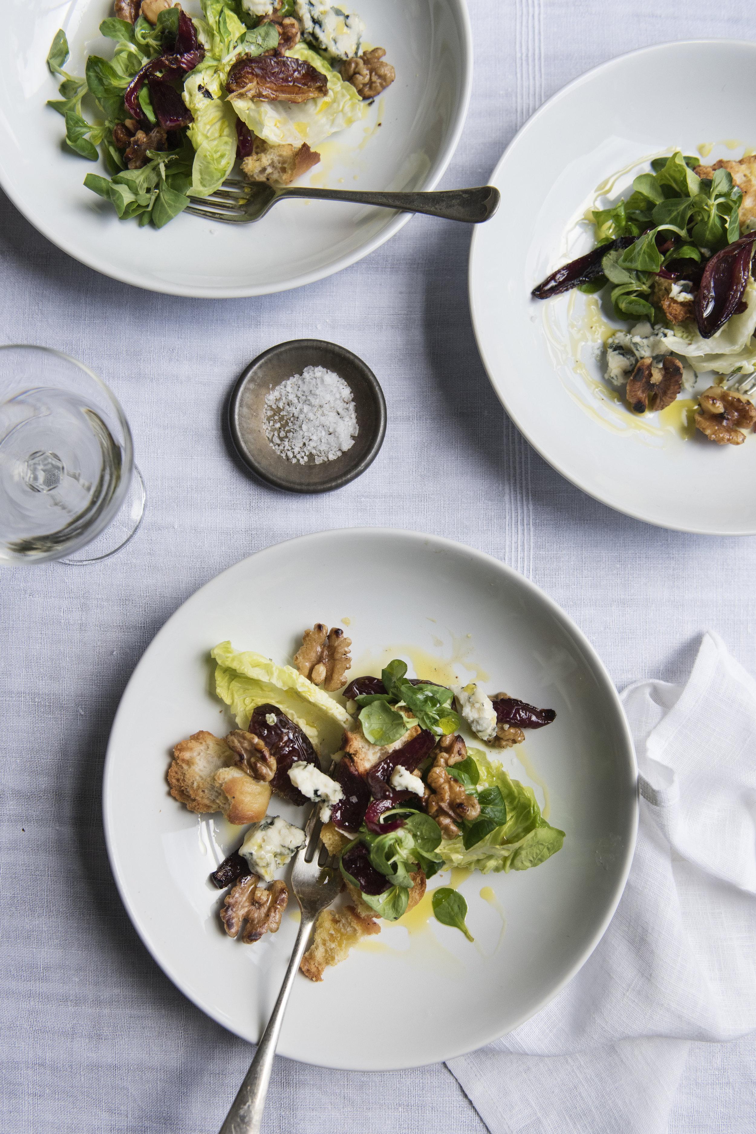 Roquefort, date and walnut salad