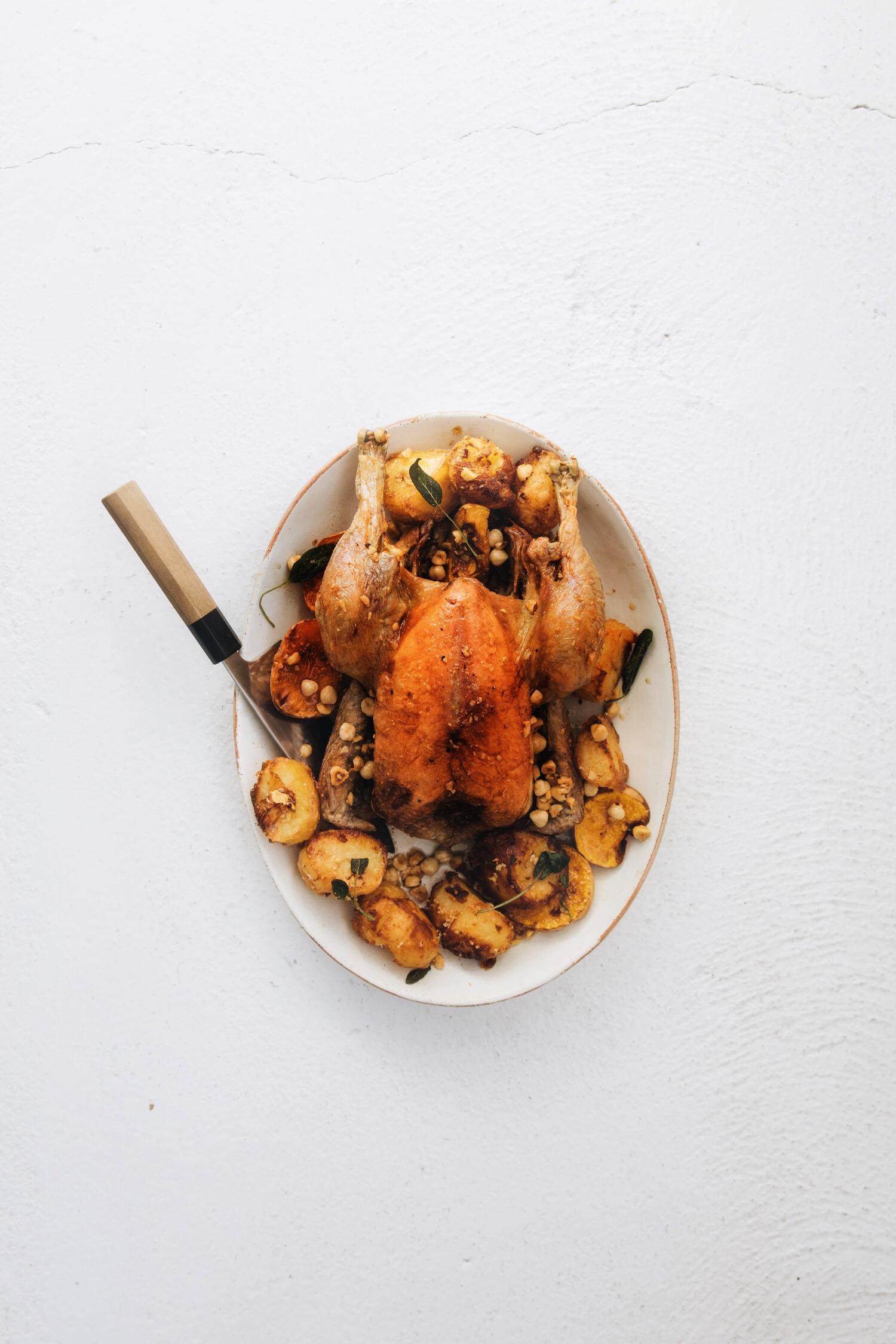 Chicken with sage and hazelnut butter