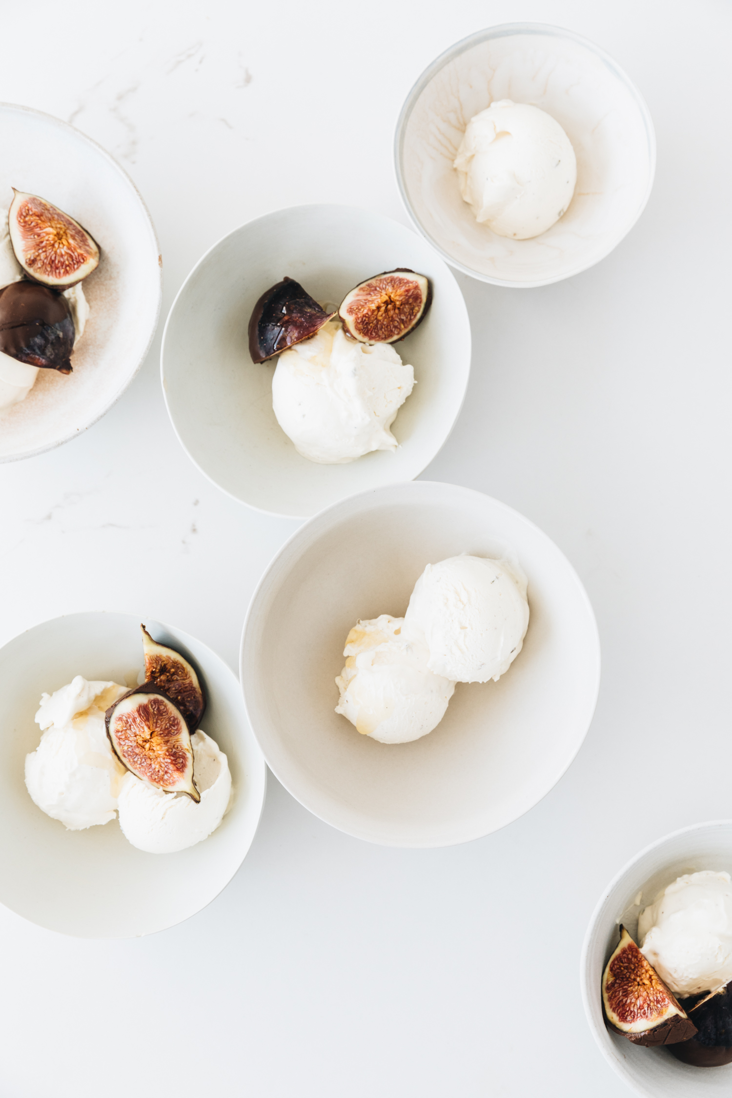 sweet honey and lavender salt ice cream with chocolate dipped figs