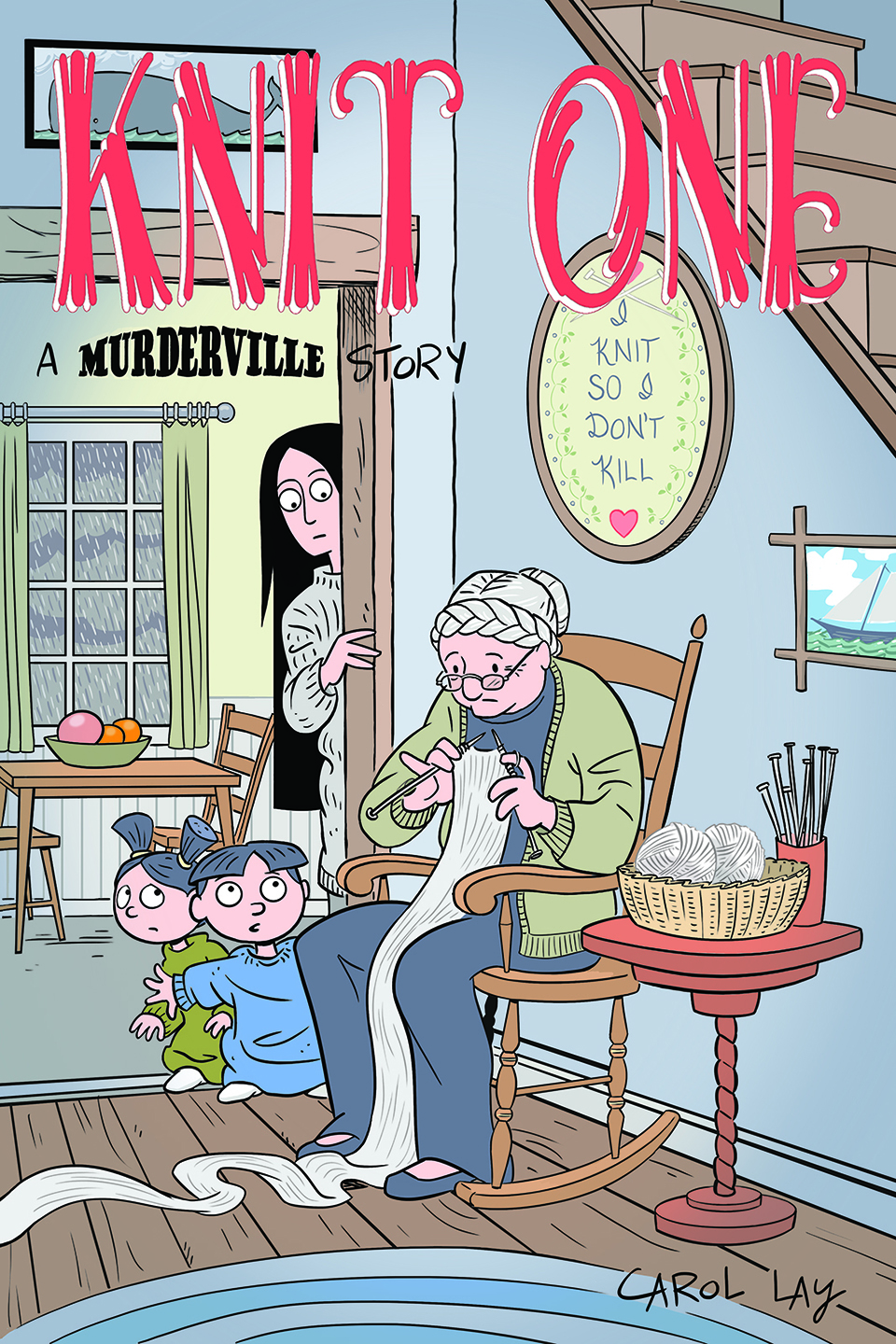 Knit One - The third Murderville story centers on the kids spending a scary stormy night on an island with two old people. 53 color pages from Waylay Books, 2016.