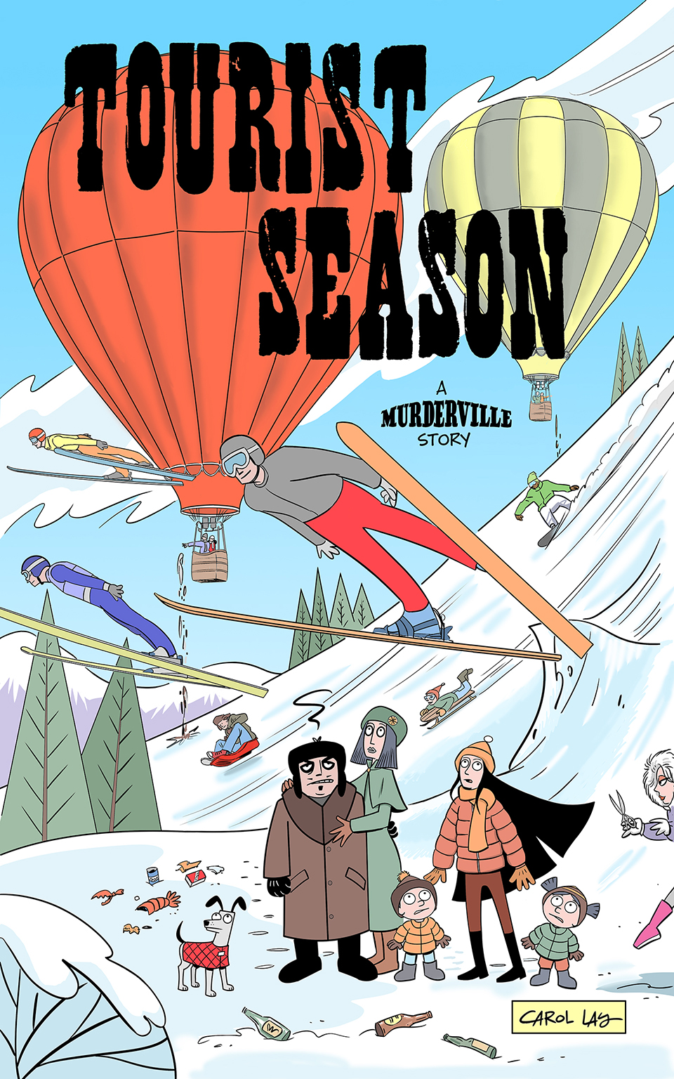 Tourist Season - The Scazzo family gets involved in an all-out war with the snobs from Snobonquit. 59 color pages from Waylay Books, 2016.