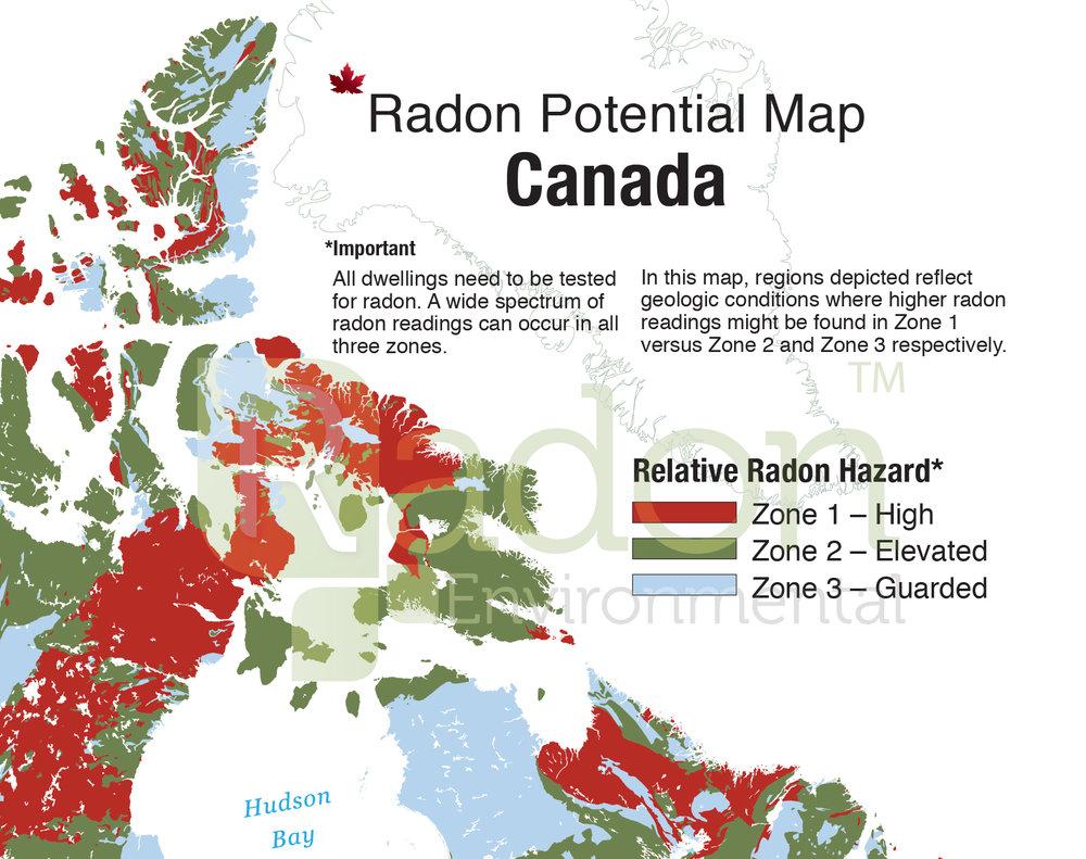 Radon Gas Areas Map Canada Radon Potential Map of Canada — Radon Environmental