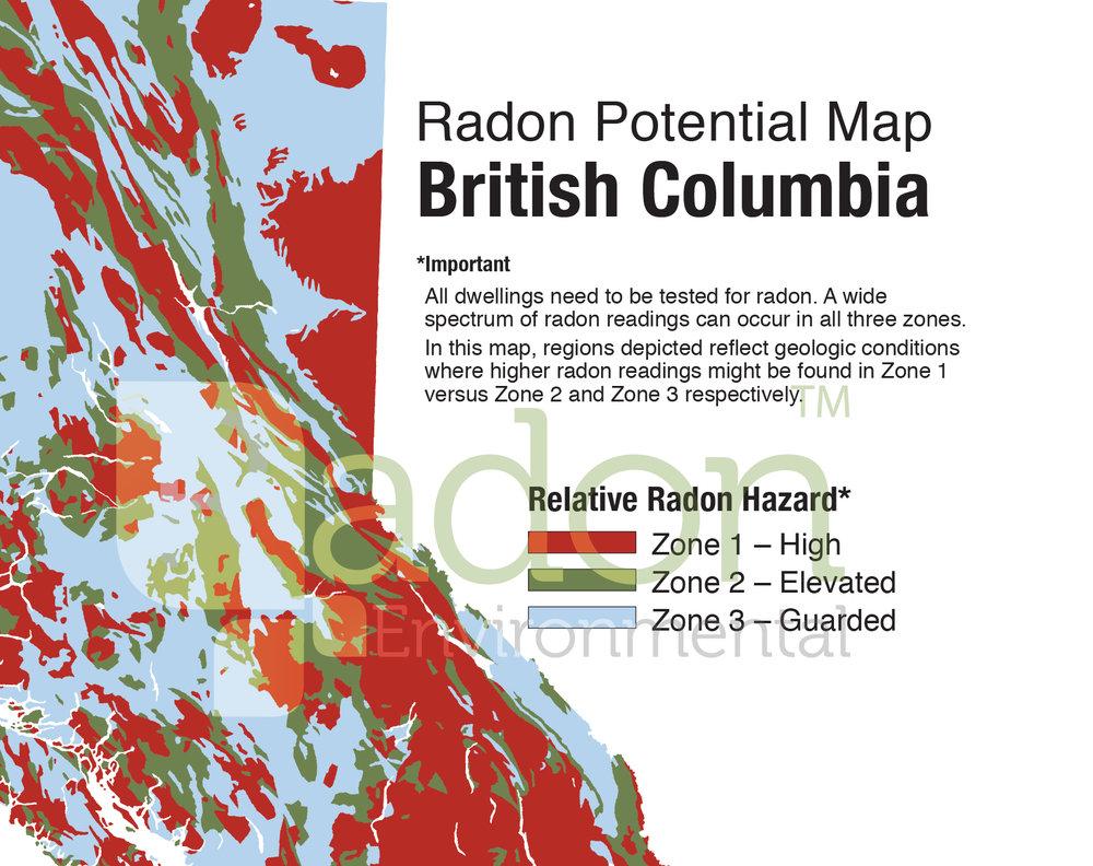 Radon Map Bc Canada Radon Potential Map of British Columbia — Radon Environmental