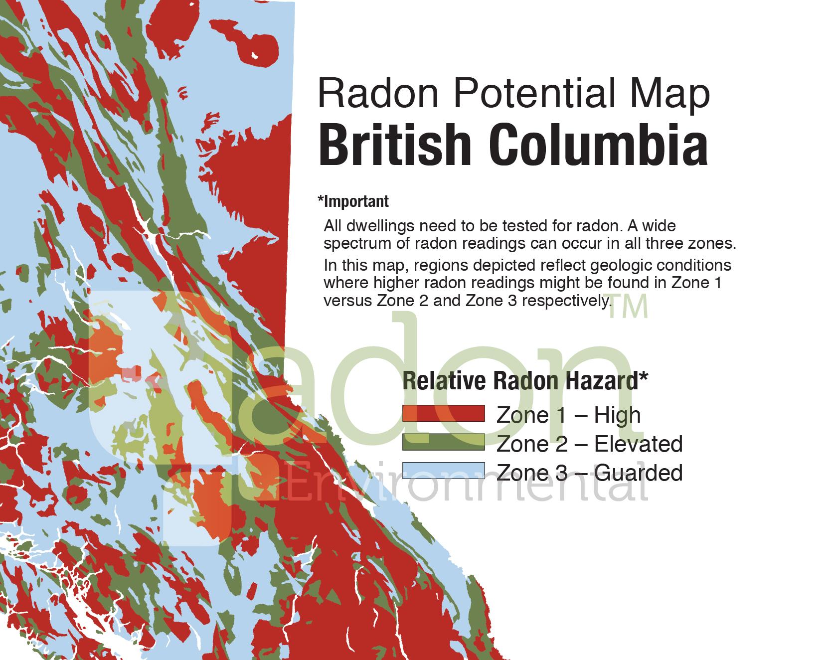 Radon Potential Map of BC.