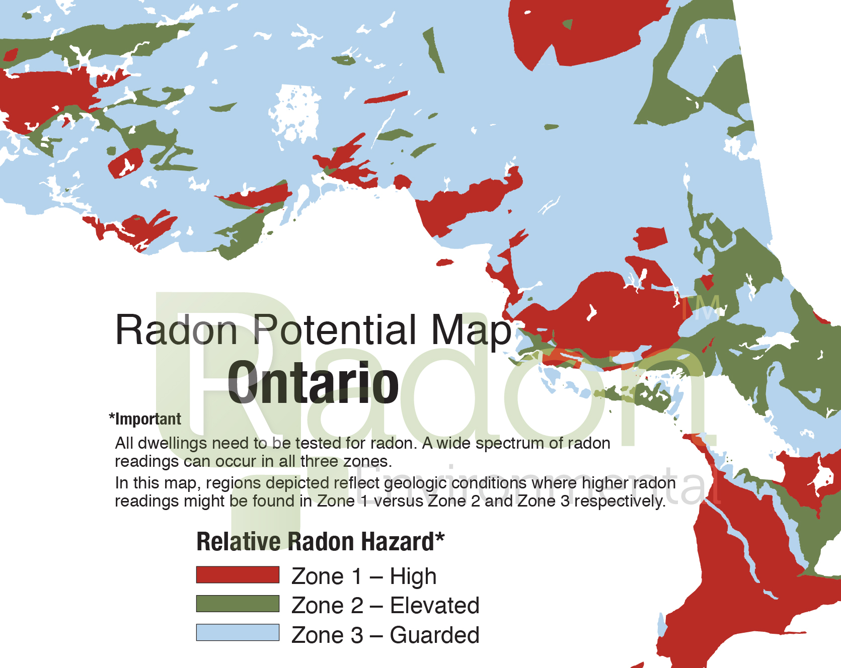 Radon Potential Map of Ontario.