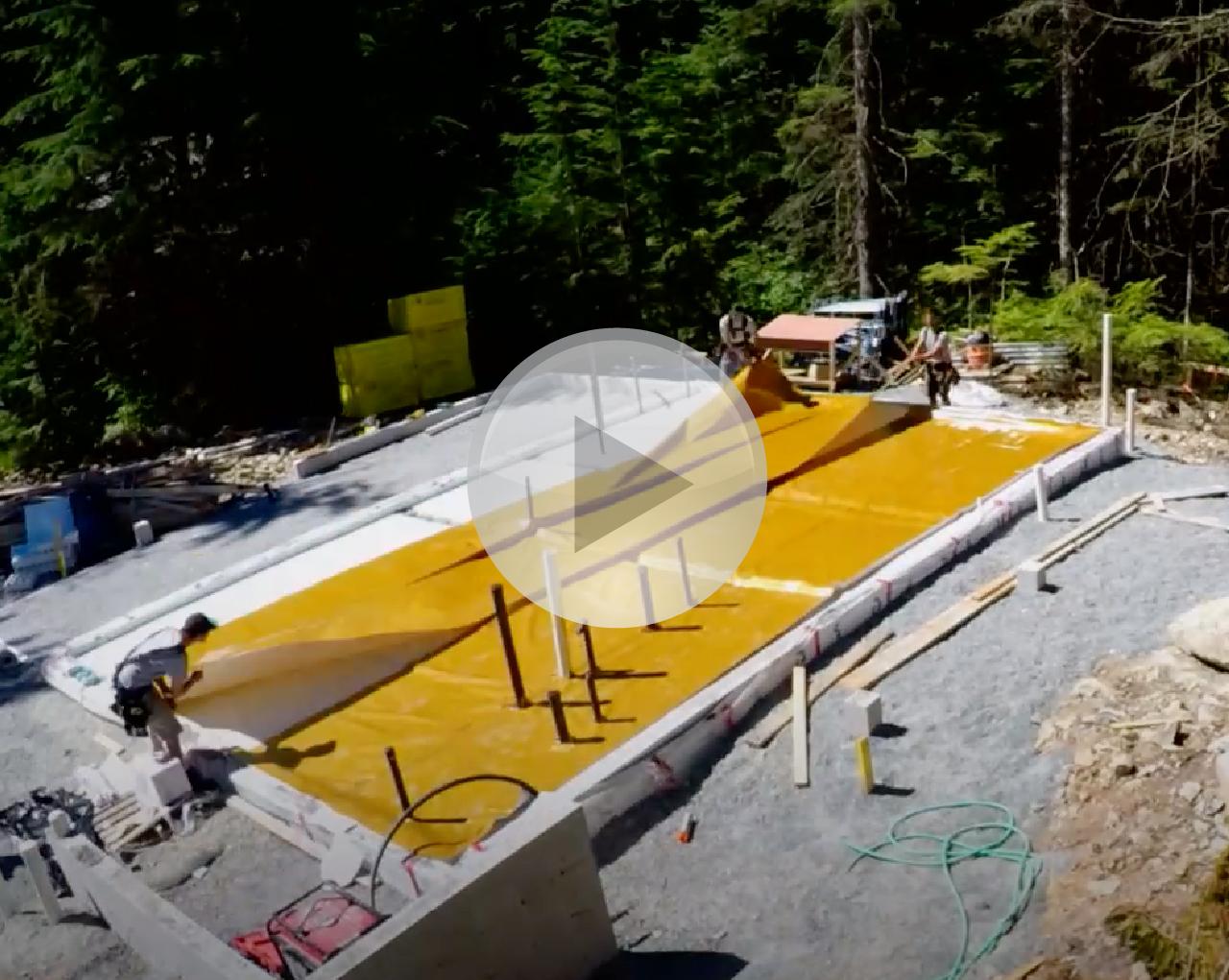 Installation of Radon Block at an RDC Fine Homes build.