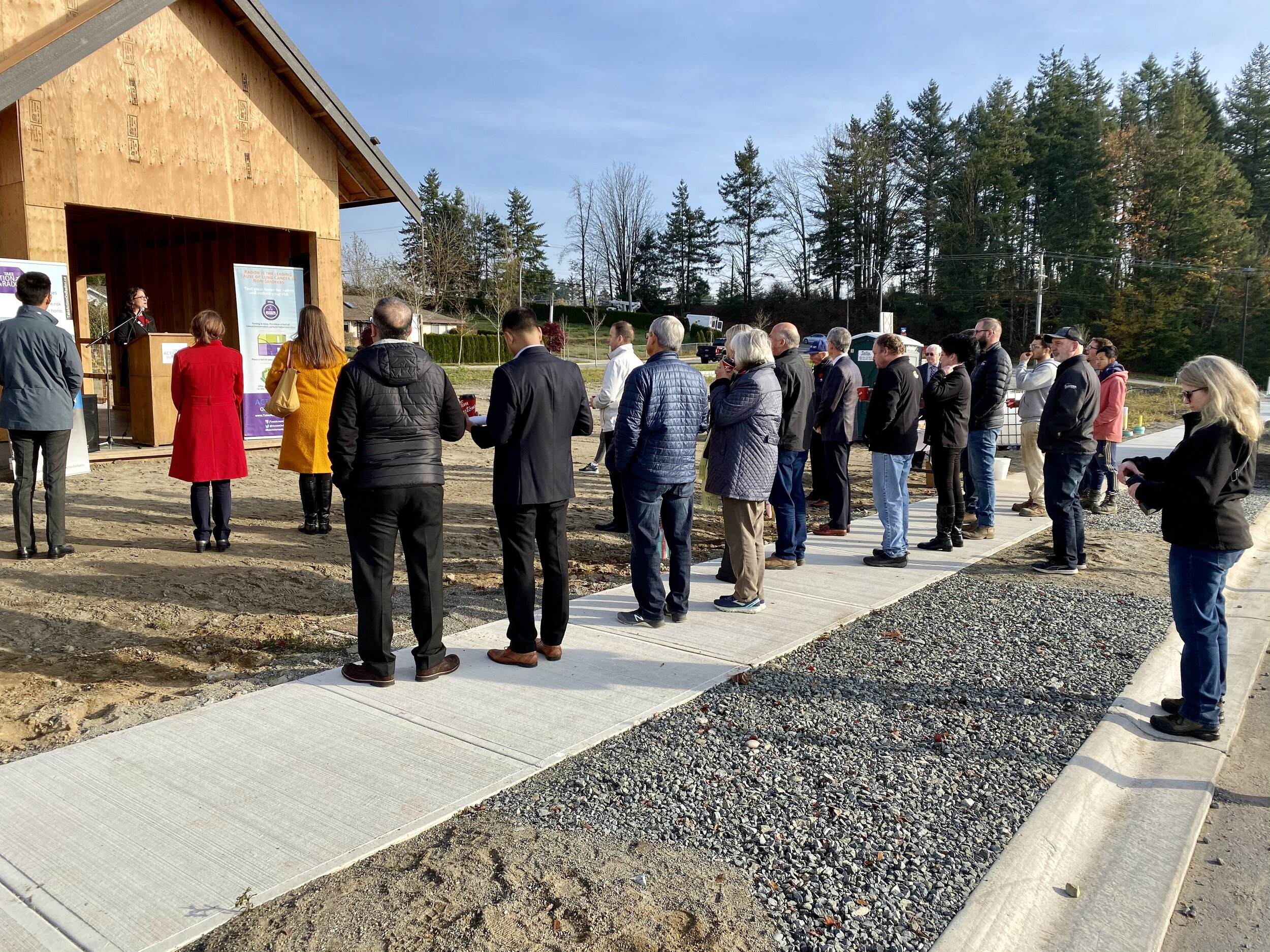 A large crowd attended the event, including City Building Code Officials, Abbotsford Mayor and MLA, Health Canada, Canadian Cancer Society, CARST, as well as Global News and Fairchild TV.