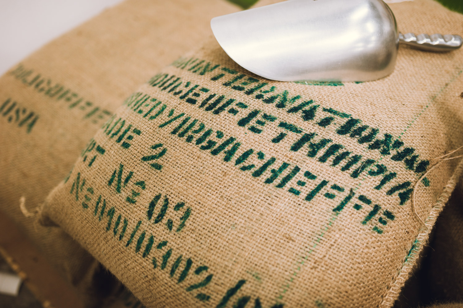 A sack of green coffee in our roastery