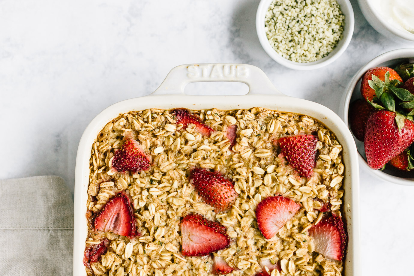 Strawberry Baked Oatmeal with Hemp Seeds