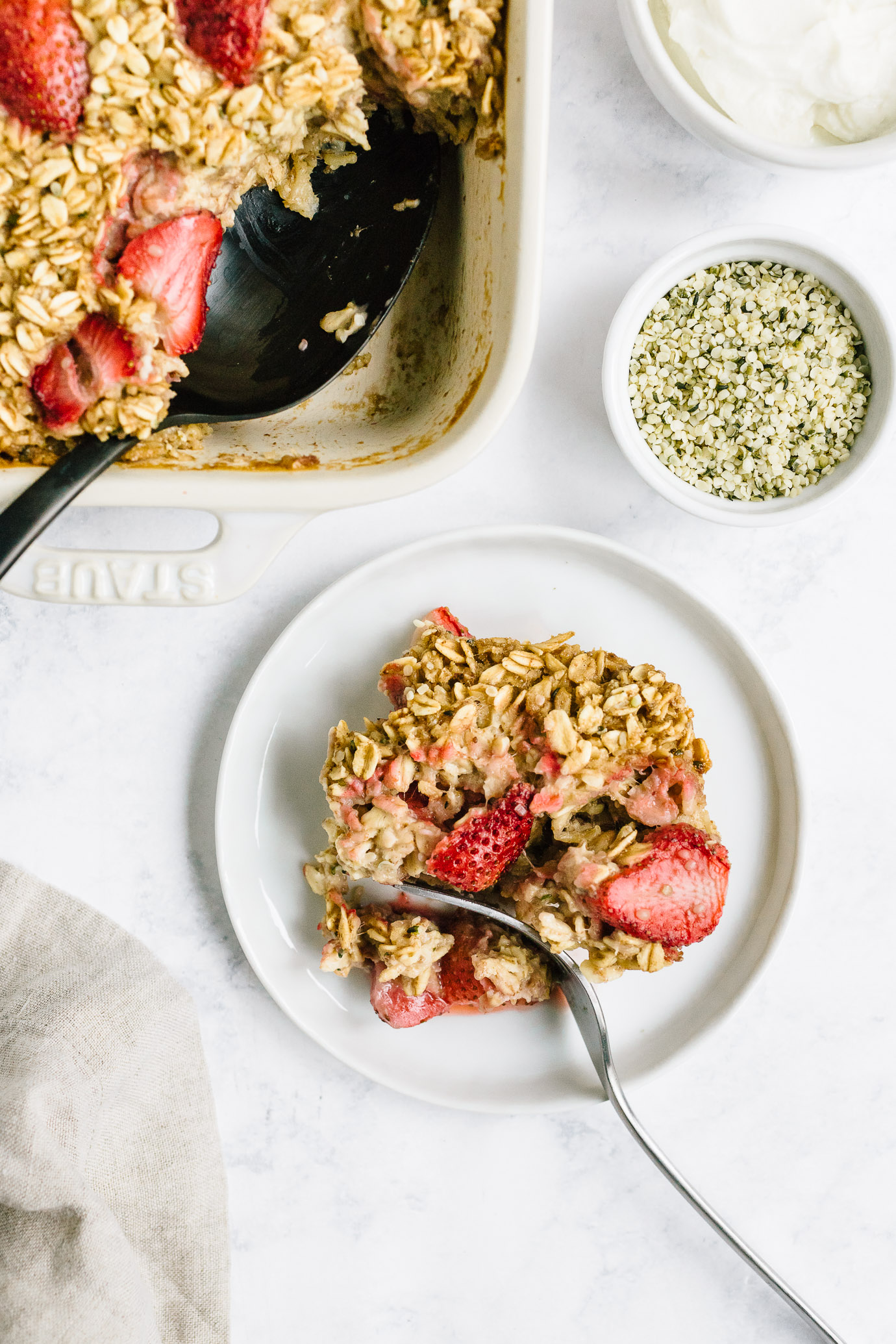a plate of strawberry baked oatmeal