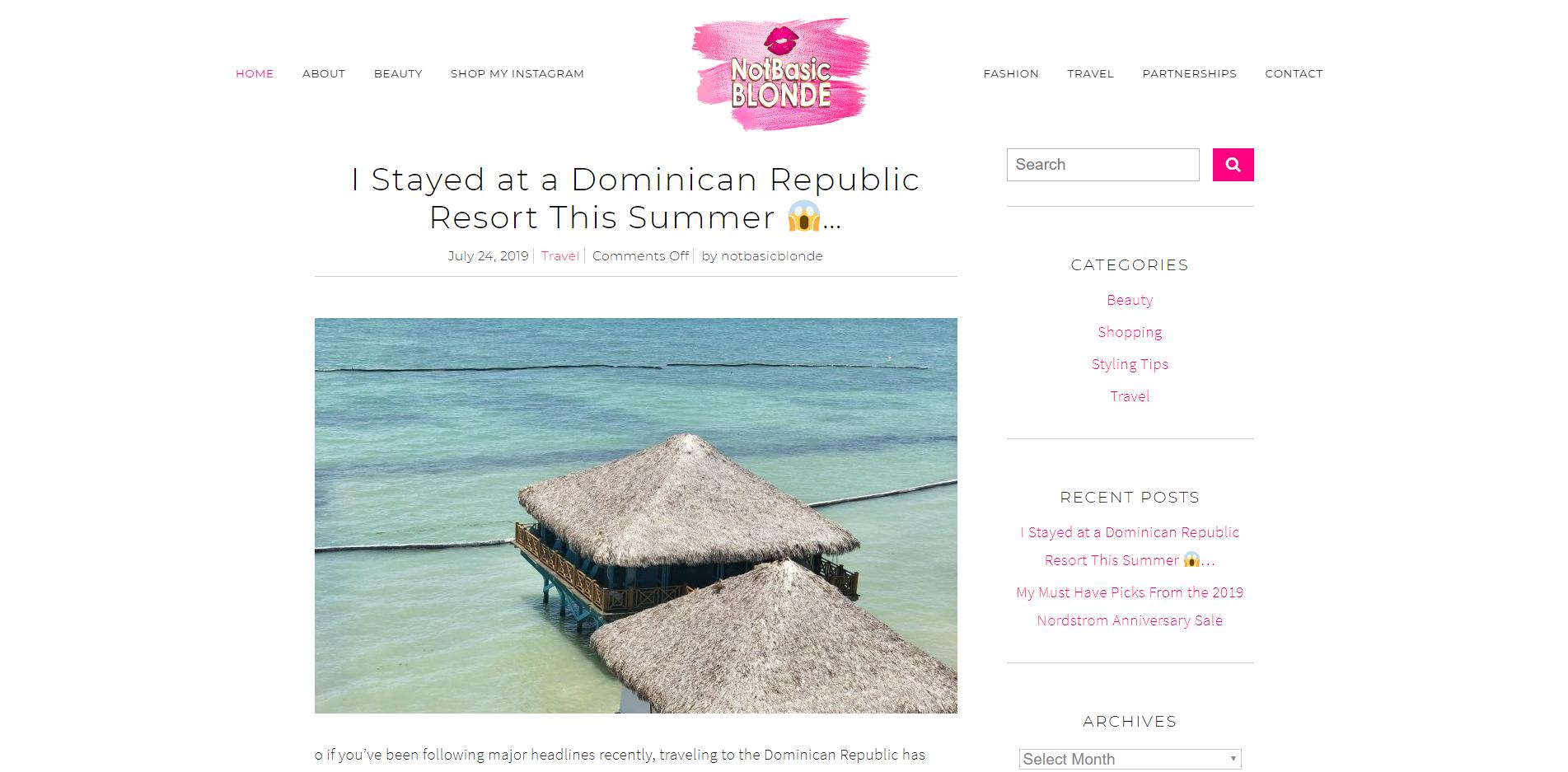 Not Basic Blonde Blog - WordPress Custom Website