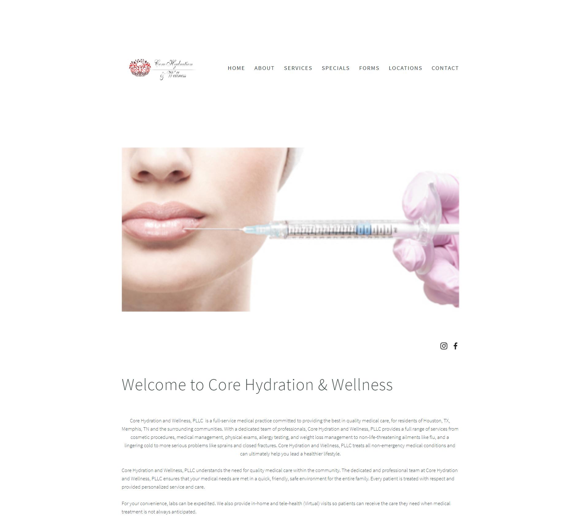 Core Hydration and Wellness - Squarespace Custom Website