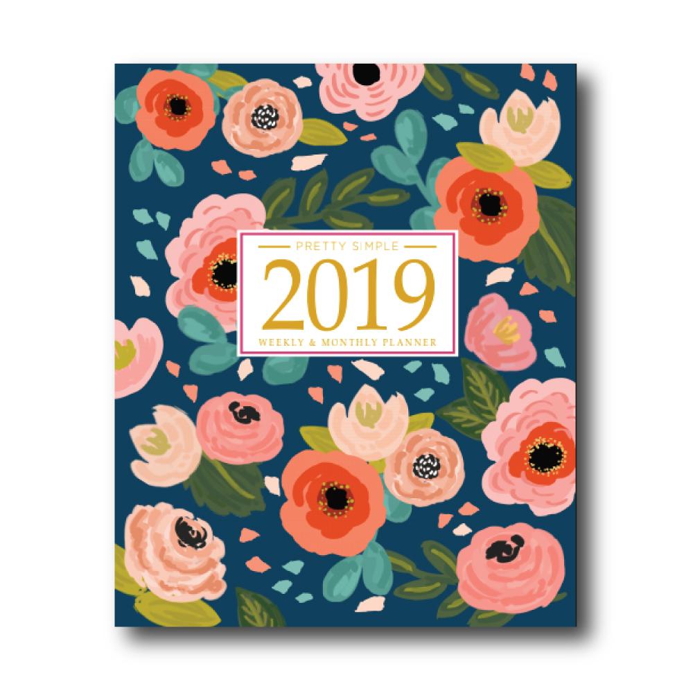 2019 Weekly Planner: Blue Floral