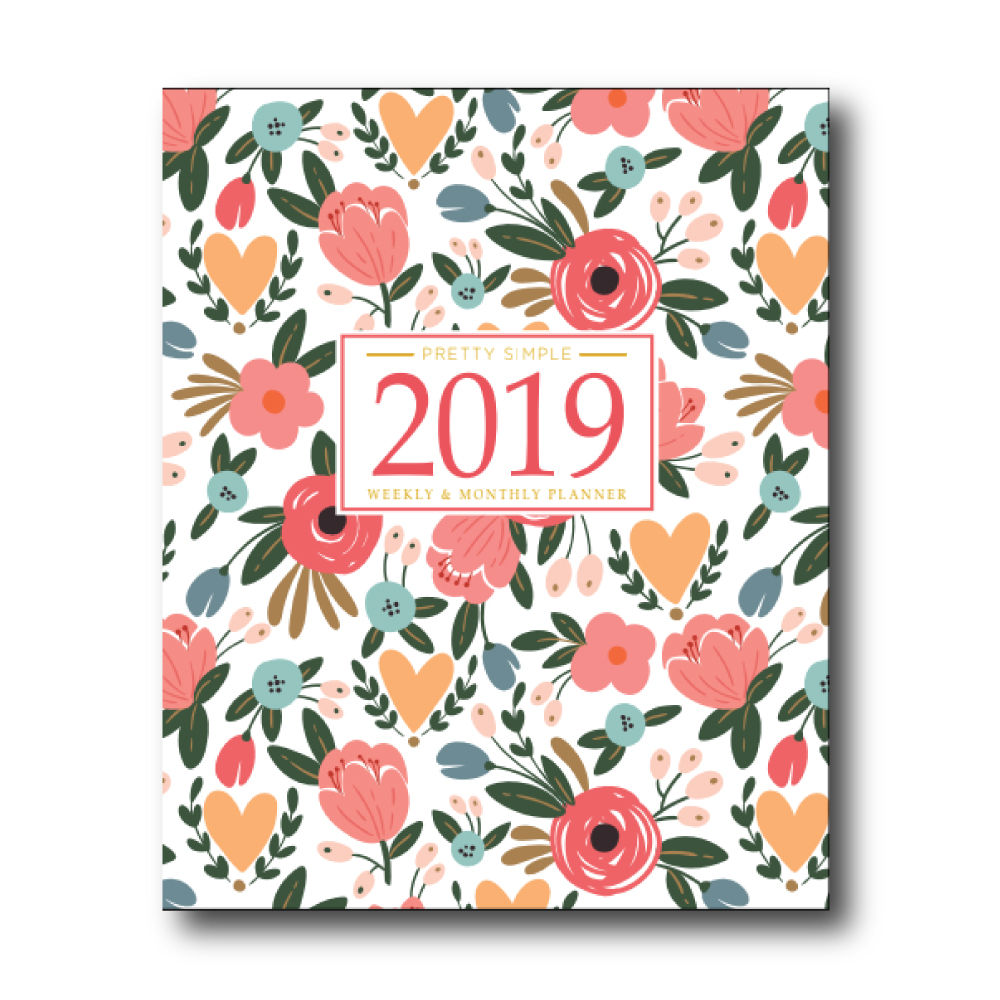 2019 Weekly Planner: White Floral