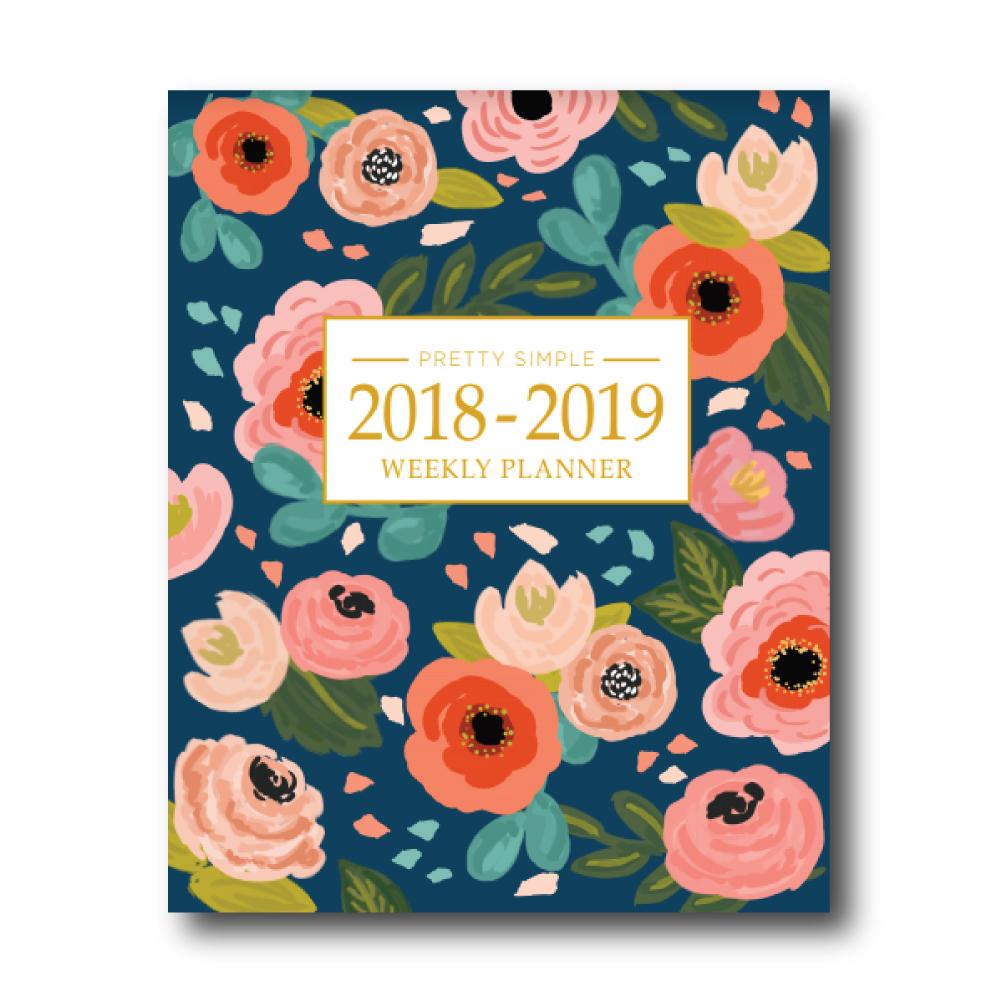 2018 - 2019 Academic Planner: Navy Floral