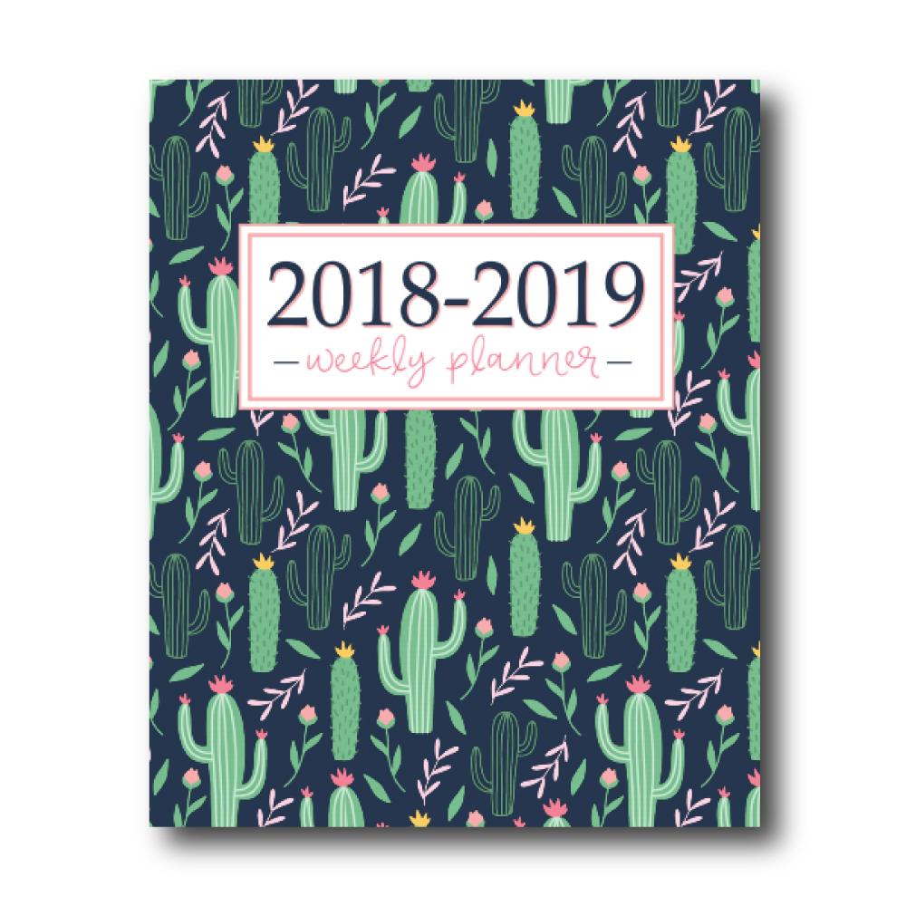 2018-2019 Weekly Planner: Cactus