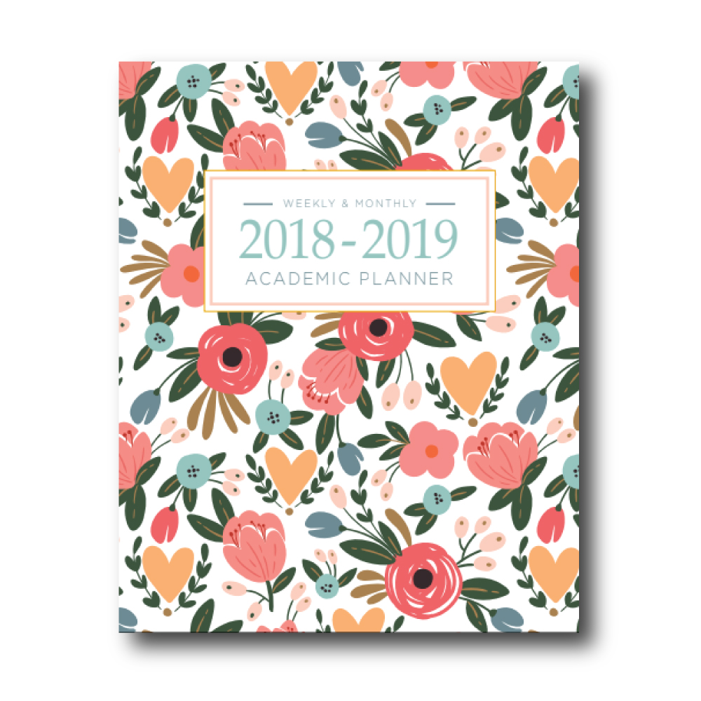 2018-2019 Academic Planner: White Floral