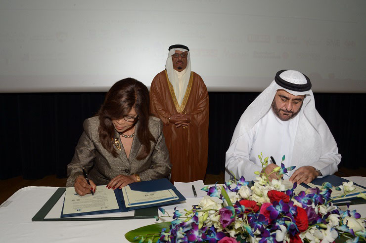 Dr. Mmantsetsa Marope, Director of International Bureau of Education- UNESCO and Dr. Mansoor Al Awar, Chancellor, HBMSU during during the MoU signing ceremony