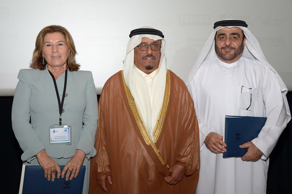 Professor Maria Amata Garito, Rector of Universita Telematica Internazionale (UNINETTUNO), an Italian university, and Consultant for the Minister of Higher Education for creativity and technology in Italy; H.E. Lieutenant General Dhahi Khalfan Tamim, Deputy Chairman of Police and General Security in Dubai and Chairman of the University's Board of Governors and Dr. Mansoor Al Awar, Chancellor, HBMSU.