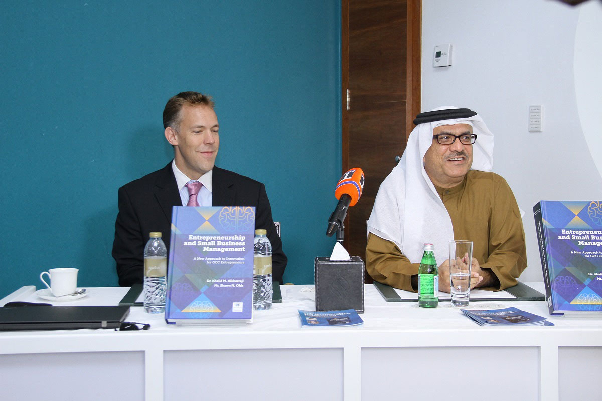 Mr. Shawn N. Olds and Dr. Khalid M. Al Khazraji during the launch of the new book 'Entrepreneurship and Small Business Management: A New Approach to Innovation for GCC Entrepreneurs'.