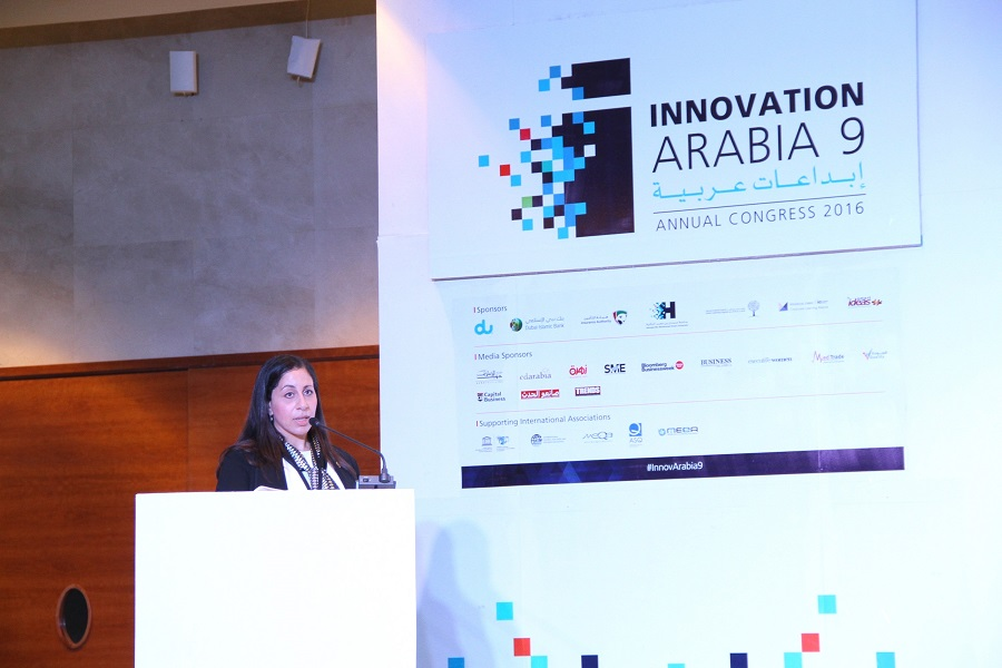 Dr. Marwa J. Zohdy, Ph.D., CICP, Vice president, Joint Commission International during her speech at Innovation Arabia 9.