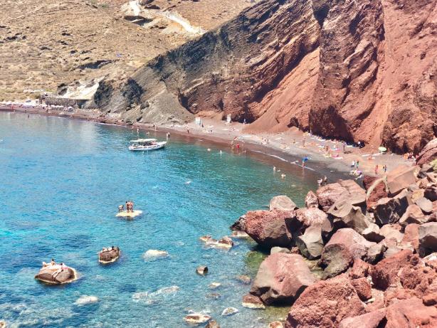 red sand beach santorini