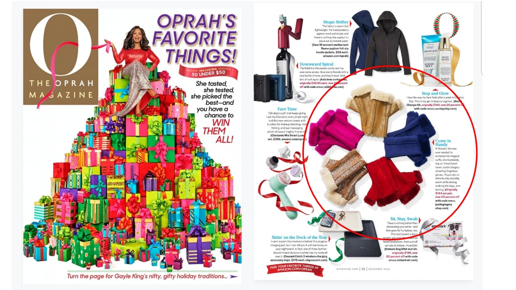 Oprah's Favorite Things 2018 - JUSTIN GREGORY's Fingerless Shearling Gloves was named one of Oprah's Favorite Things in 2018!