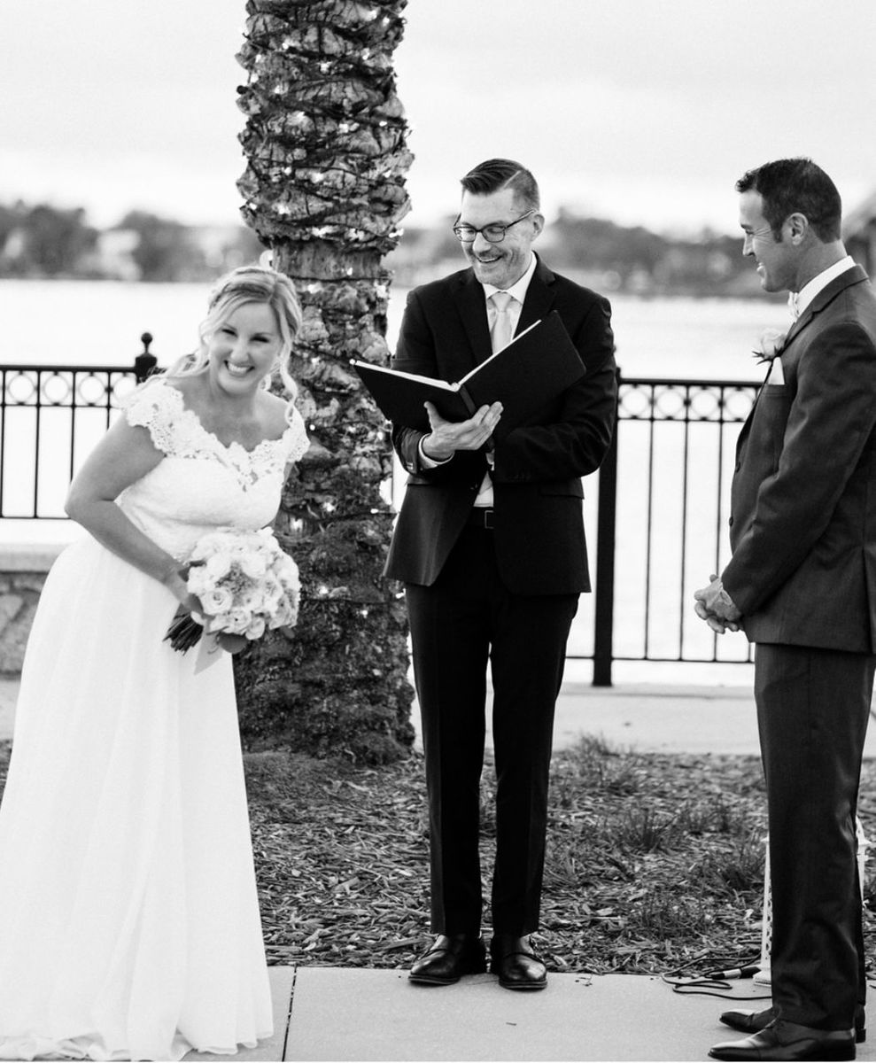 Sam officiating an outdoor ceremony in Orlando, FL