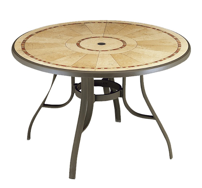T61 - Decorative Stone Resin Top Table, Frame - Metal
