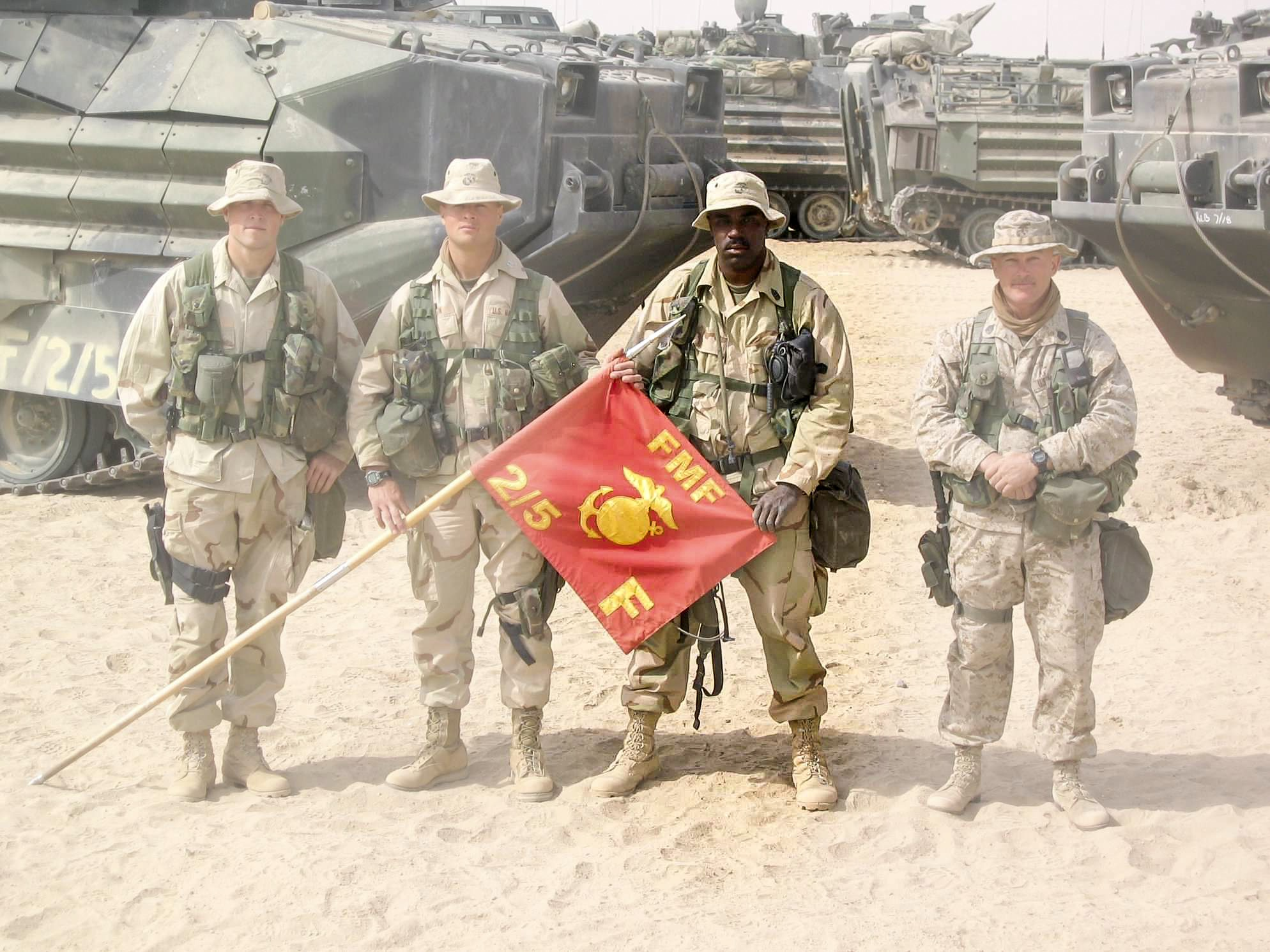 1st Sgt. Smith with his fellow Marines in Kuwait just before deploying to Iraq in 2003.