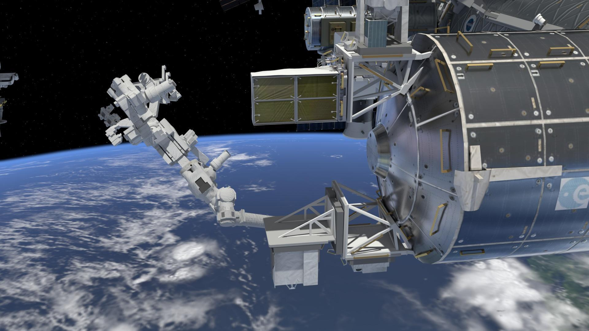 A graphic representation of the SDS mounted on the exterior of the Columbus module on the ISS.  Credit: NASA