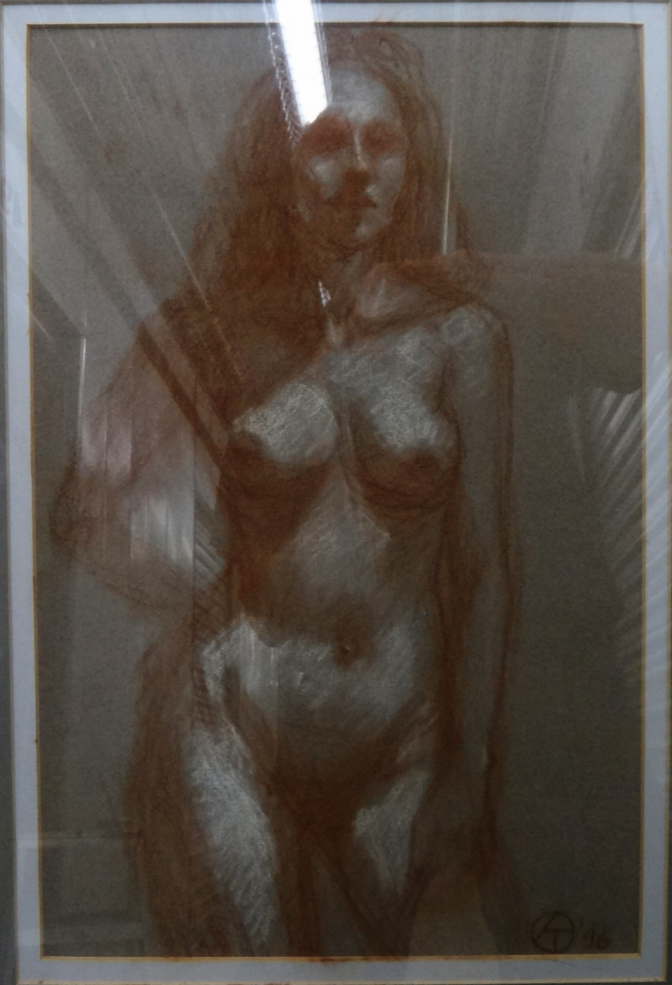 "Title: A Study  Medium: Graphite on Paper  Dimensions: 17 1/2"" x 11 1/2""  Framed: Yes  Price: Contact for Inquiry"