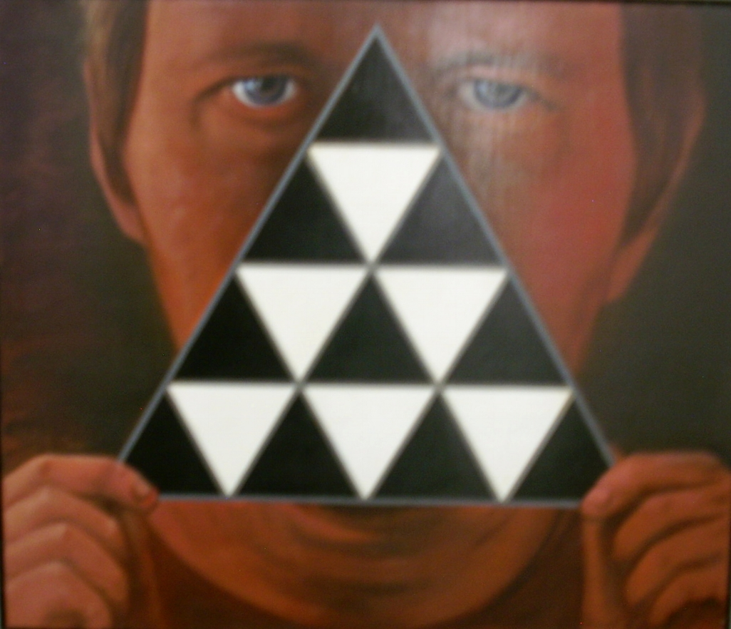 "Title: Self Portrait With Triangle  Medium: Acrylic on Canvas  Dimensions: 20 1/2"" x 24""  Framed: Yes  Price: Contact for Inquiry"