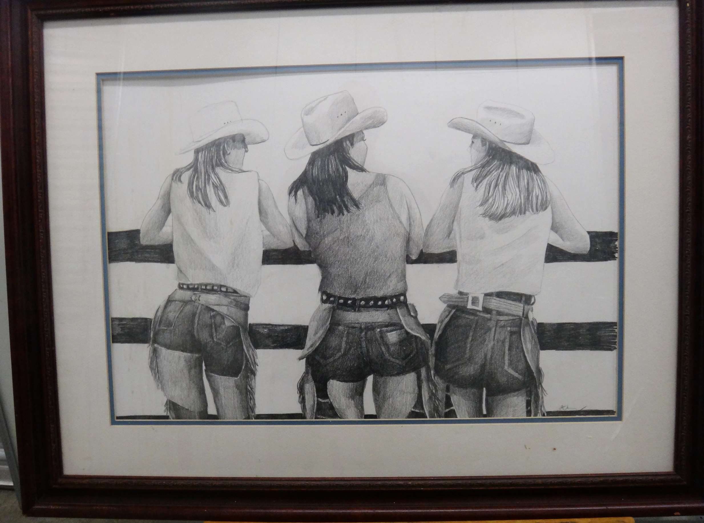 "Title: Cowgirls  Medium: Graphite on Paper  Dimensions: 16"" x 24""  Framed:Yes  Price: Contact for Inquiry"