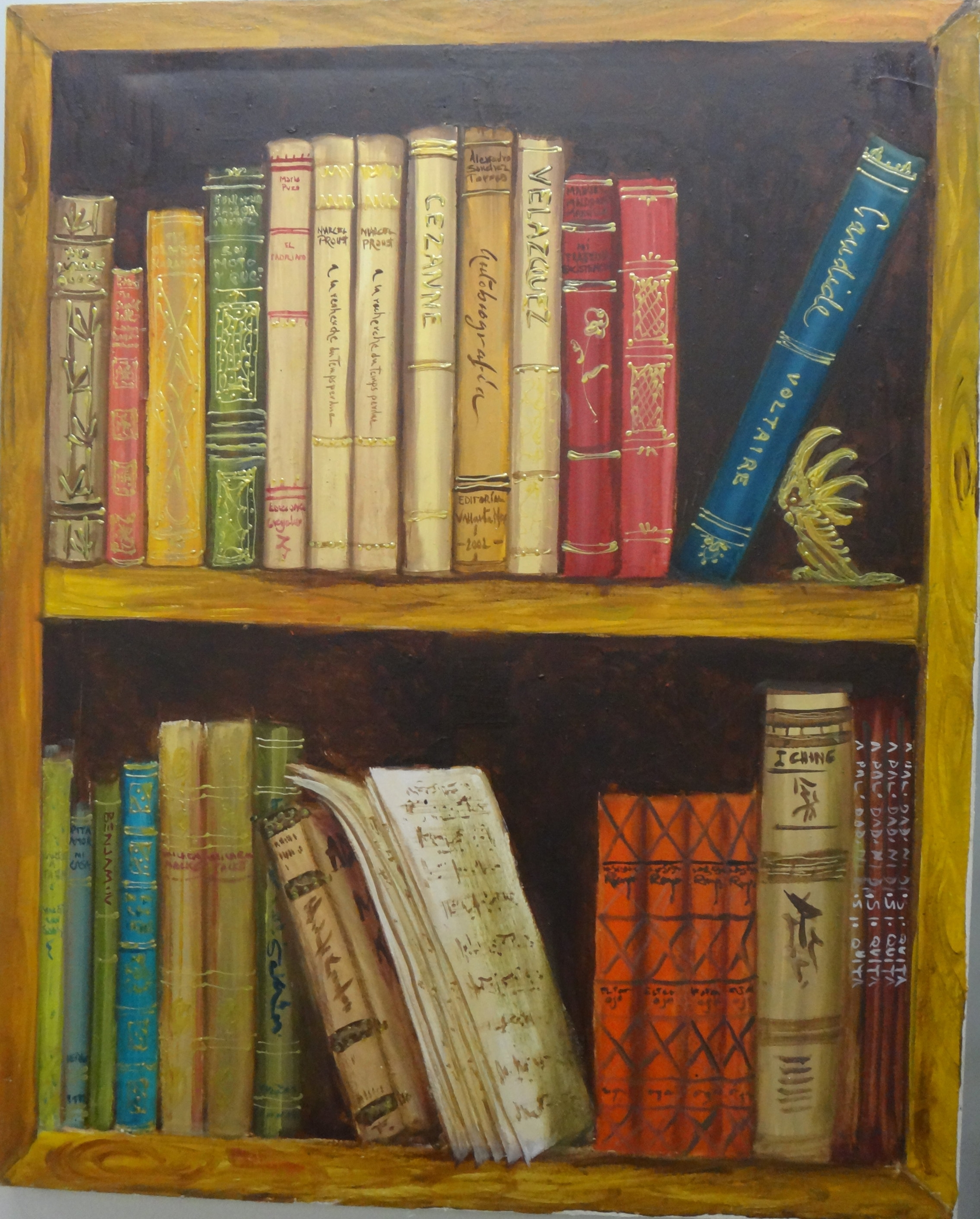 "Title: The Library  Medium: Oil on Canvas  Dimensions: 39"" x 31""  Framed: No  Price: Contact for Inquiry"