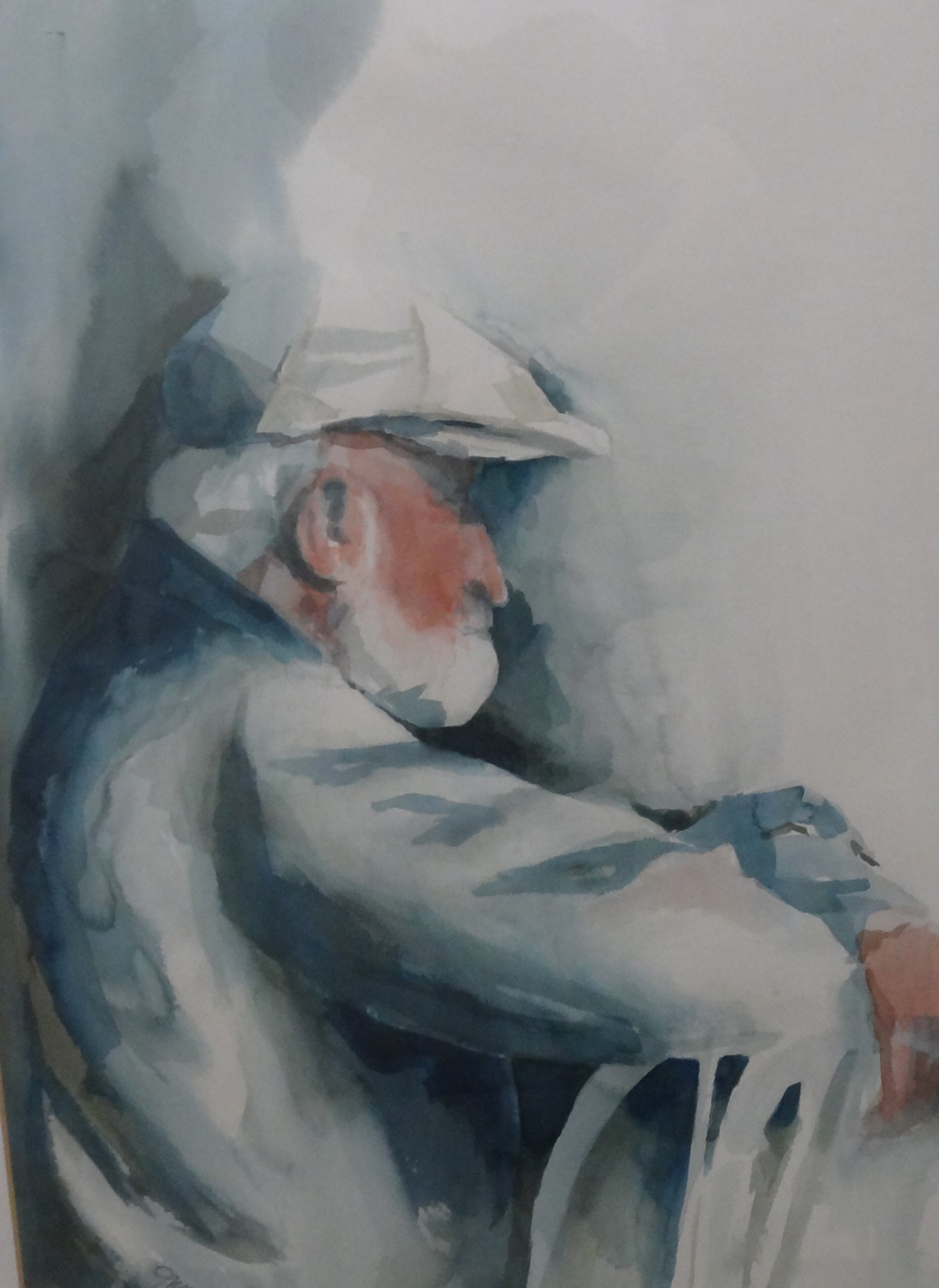 "Title: Contemplation  Medium: Watercolor  Dimensions: 28 1/2"" x 20""  Framed: Yes  Price: Contact for Inquiry"