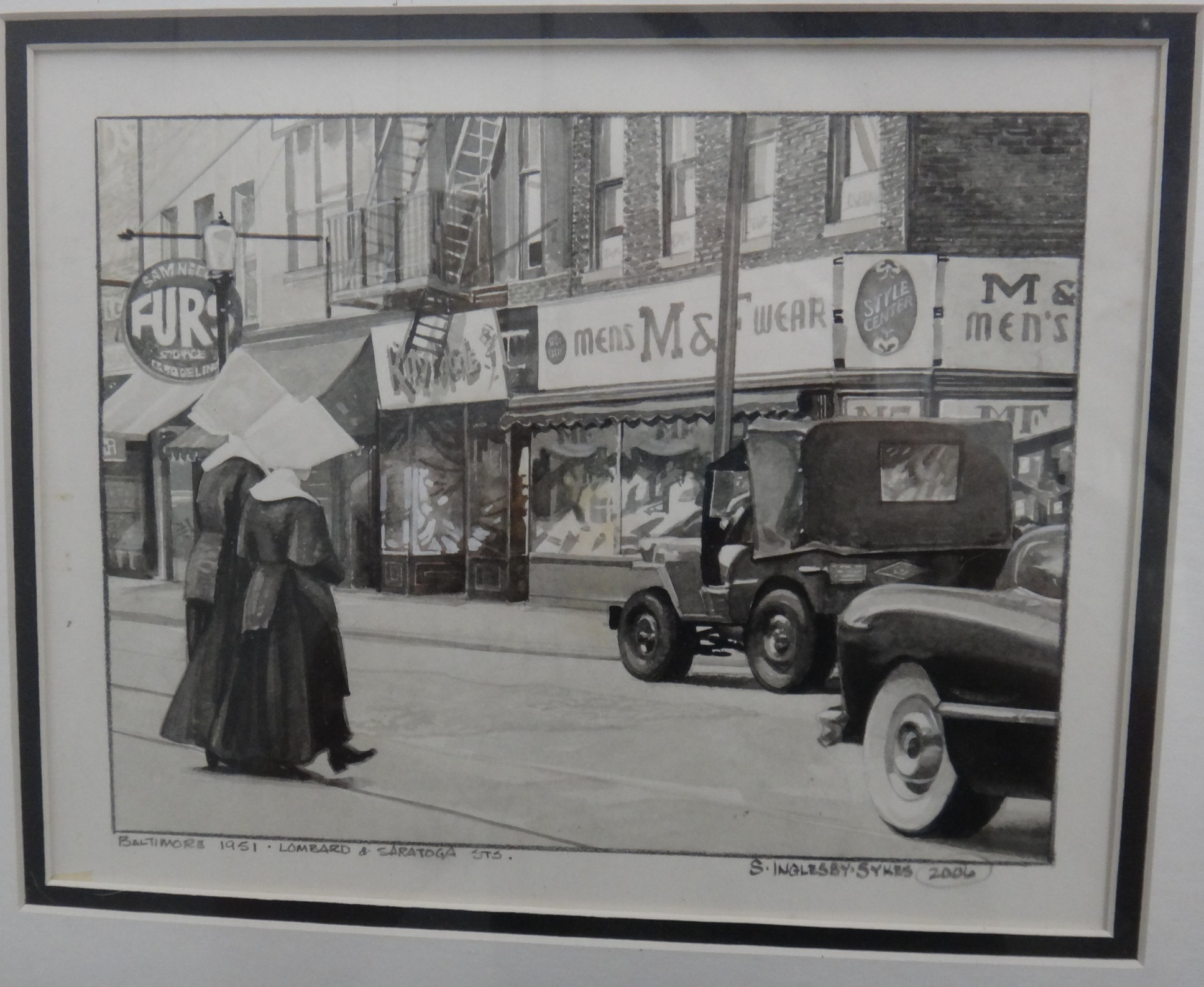 "Title:Nuns on the Run May 1951  Medium: Pencil on Paper  Dimensions: 8"" x 10""  Framed: Yes  Price: Contact for Inquiry"